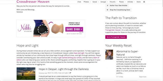 How to monetize a community website, example: Crossdresser Heaven