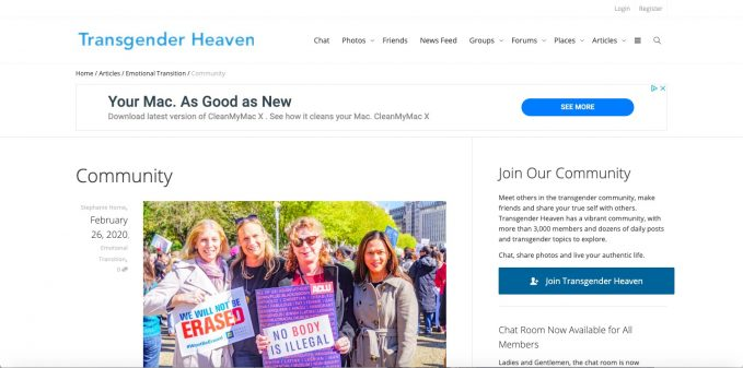 Transgender Heaven is an example for the monetization of community websites