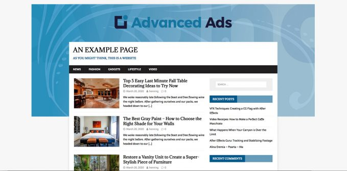 Example of a site branding ad setup in WordPress