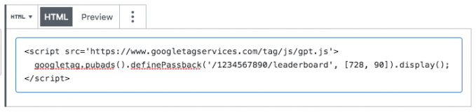 Google Ad Manager code in a Custom HTML widget in a WordPress post.