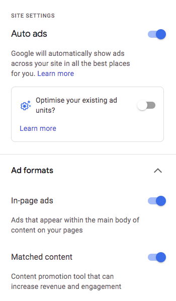 Showing Auto ads options as visible in the Google AdSense account with most of them enabled.