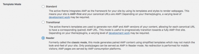 "Template Mode option in the AMP plugin for WordPress set to ""Reader"""