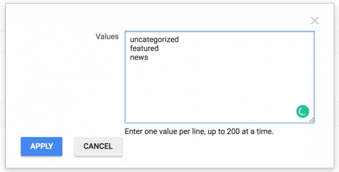 Google Ad Manager values example