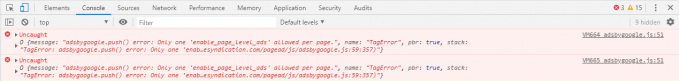 "Warning in the browser ""adsbygoogle.push() error: Only one 'enable_page_level_ads' allowed per page."""