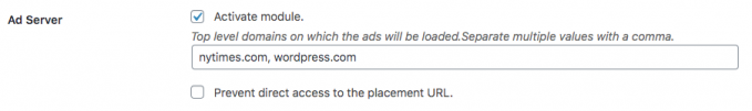 Options of the ad server module in the Advanced Ads Pro settings in WordPress.