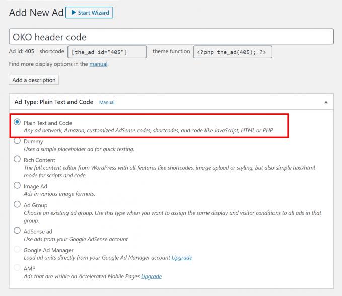 Insert the OKO ad management header code into WordPress