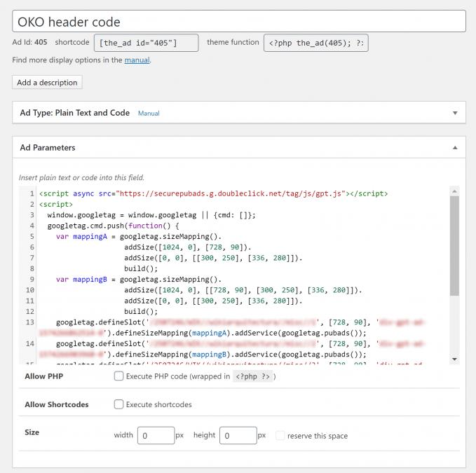 Header code of OKO digital ads