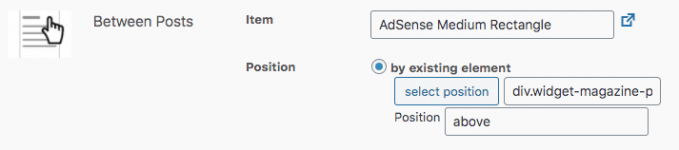 Settings of the Custom Position placement with the ads targeting the position between posts on the home page.