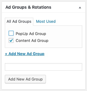 This imahe shows an ad group in Advanced Ads.