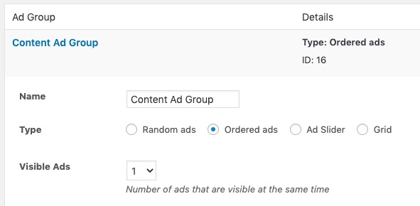 Choosing the ordered ad type for the ad group.