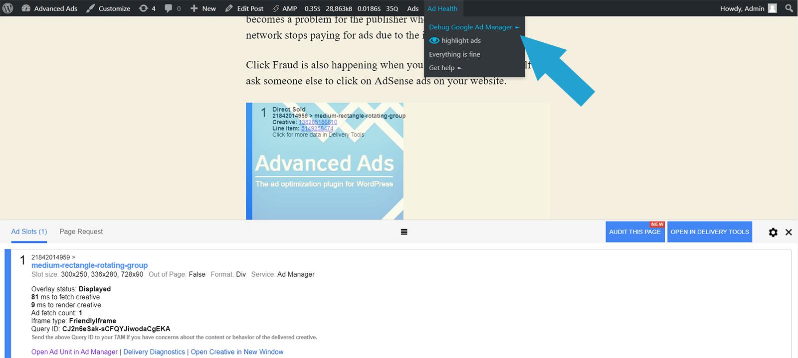 Debug Google Ad Manager
