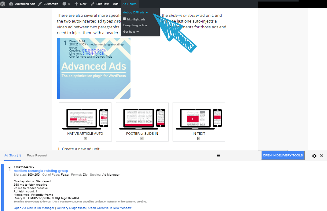 Google DFP debug mode from Advanced Ads