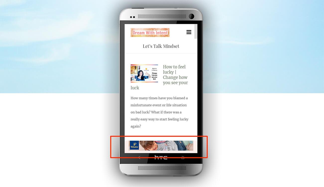 Example sticky AdSense ad