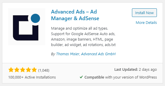Advanced Ads auf wordpress.org