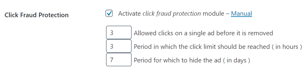 Click Fraud Protection settings in Advanced Ads
