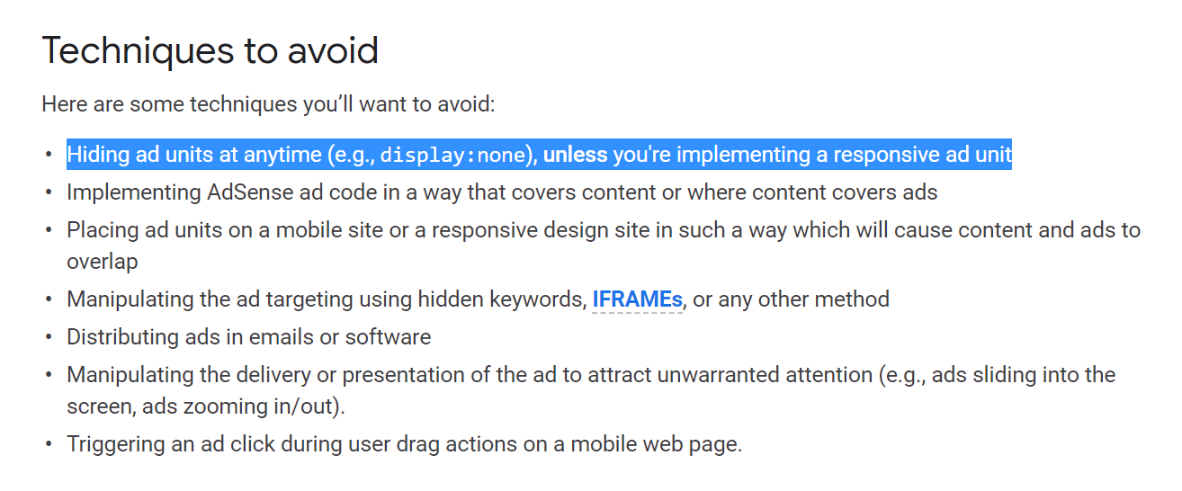 Hiding AdSense ads is prohibited by AdSense