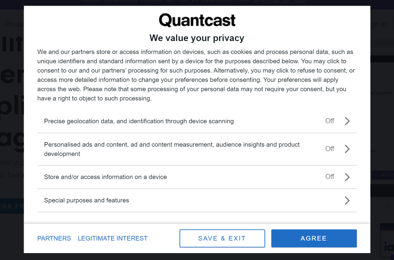 Transparency and Consent popup of Quantcast