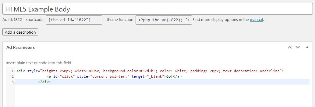 HTML5 ad body code