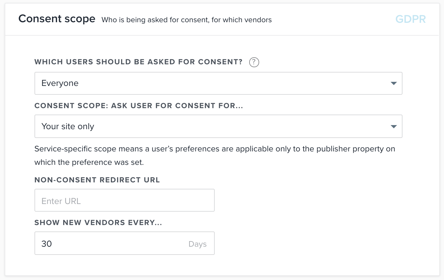 Quantcast consent scope