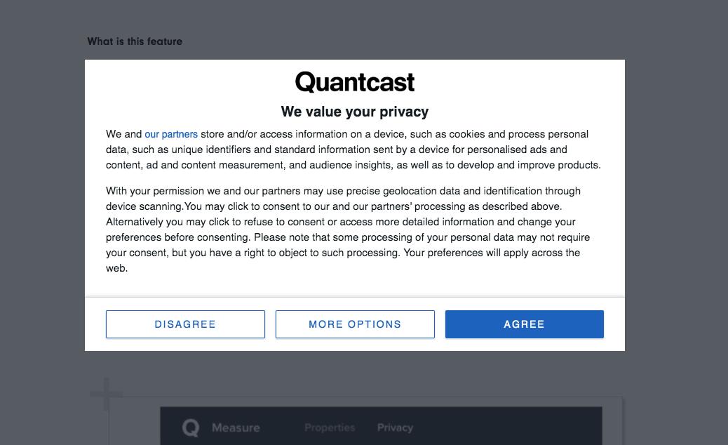 TCF consent dialog from Quantcast