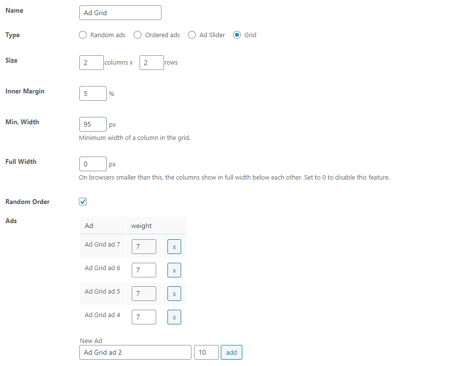 Group settings of Advanced Ads to create an ad block with several ad units in one ad group