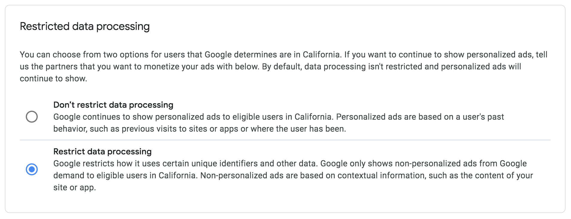 Restricted data processing settings in Google AdSense to comply with the CCPA