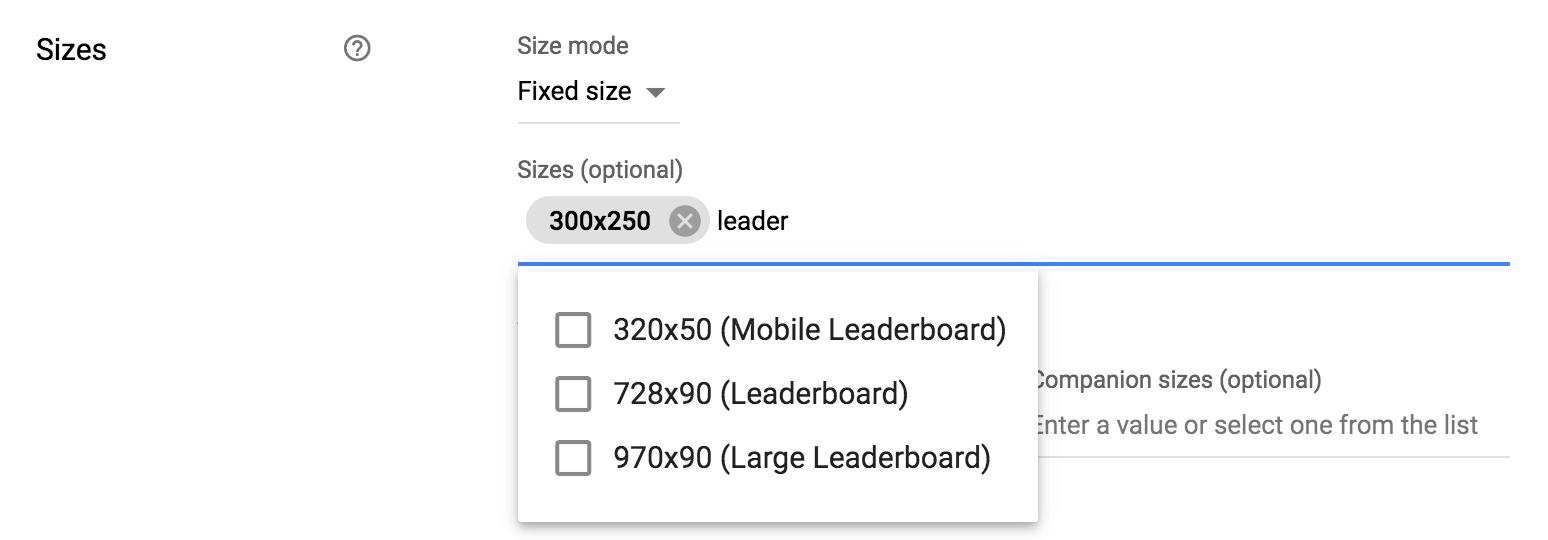 Add multiple sizes to an ad unit to set up sizemapping