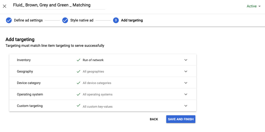 Targeting styles Google Ad Manager
