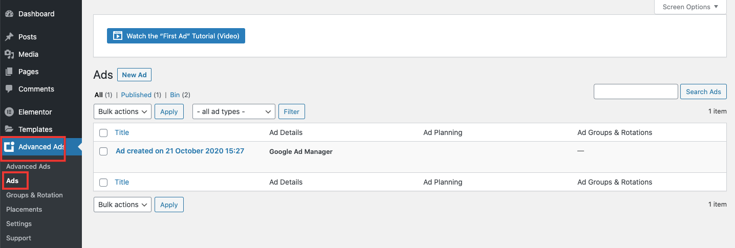 Create a new ad unit in Advanced Ads