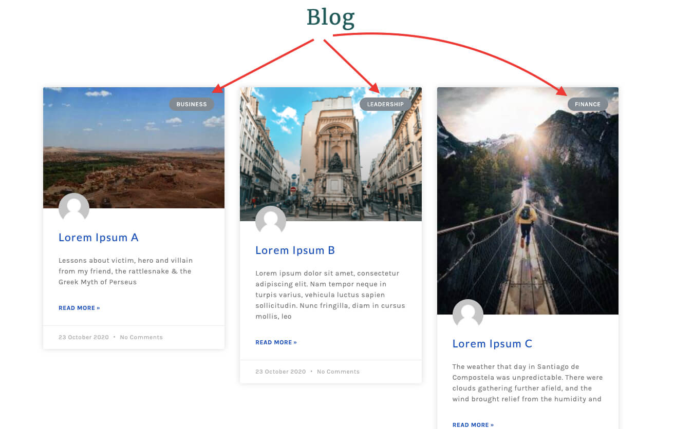 Blog with three different post categories