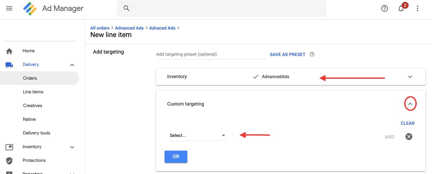 Line item targeting options