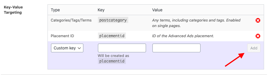 Manage key-values in Advanced Ads