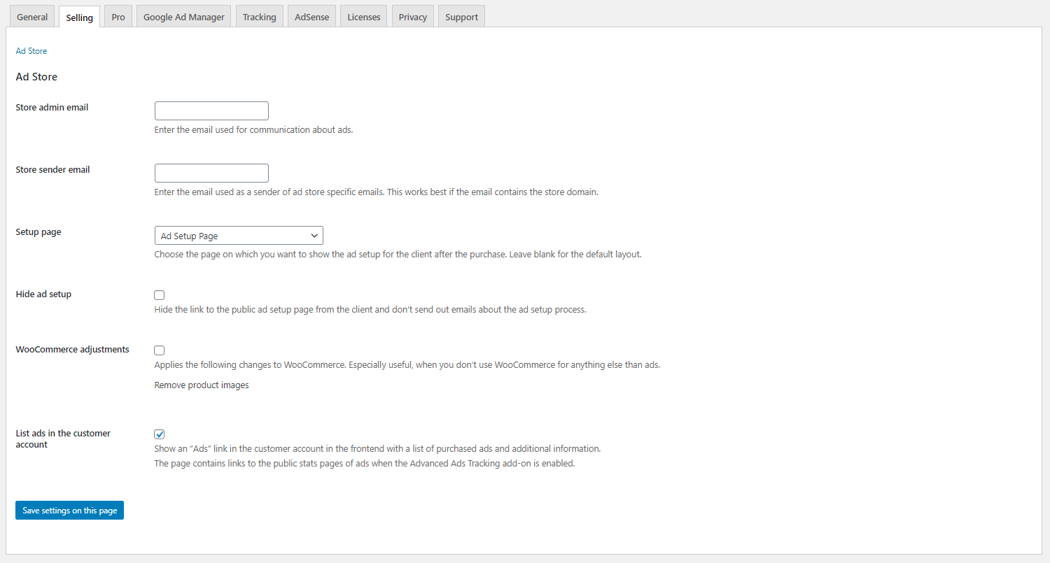 Selling Ads settings page