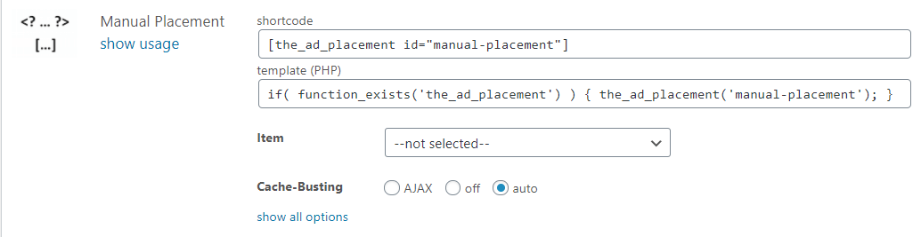 Shortcode for the manual placement of Advanced Ads