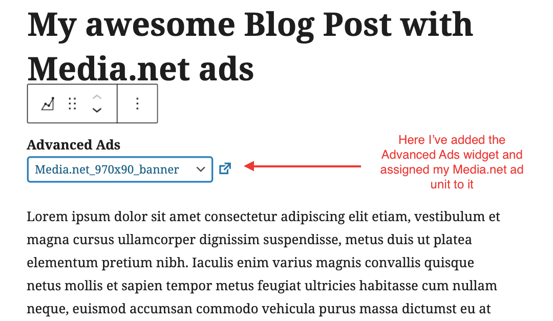 Injecting an ad unit with the Advanced Ads block for Gutenberg