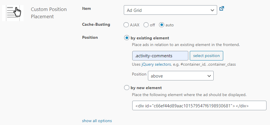 Settings Custom Position Placement, Advanced Ads