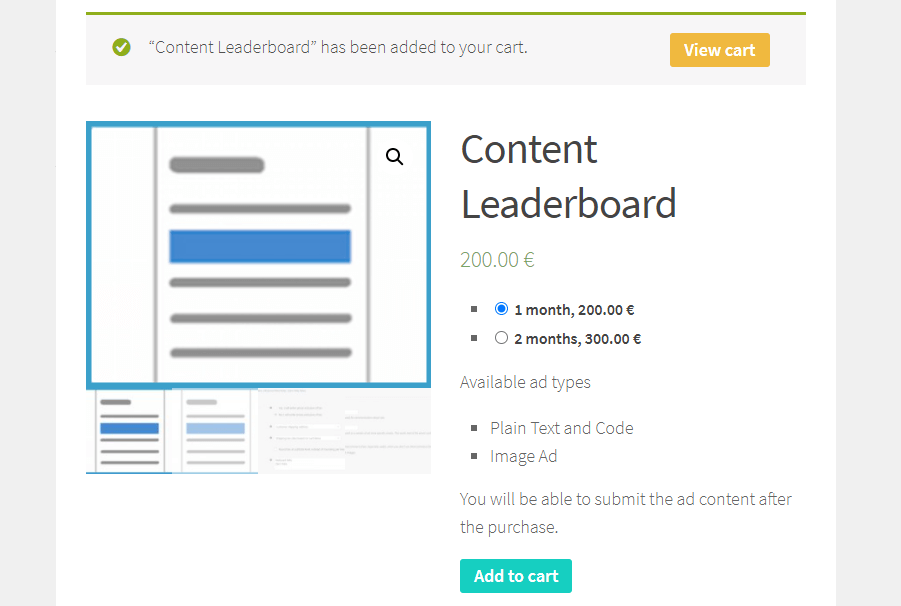 Adding ads to the cart in WooCommerce