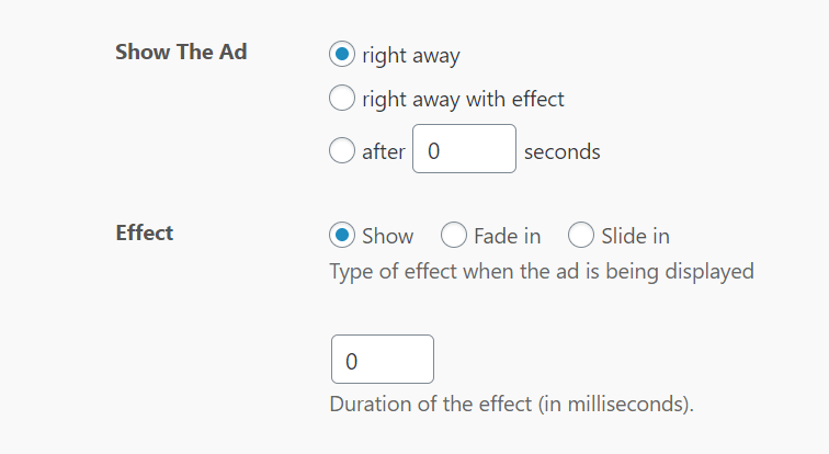 Triggers and effects for sticky ads