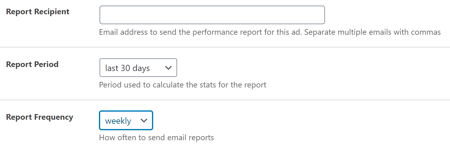 Email report options