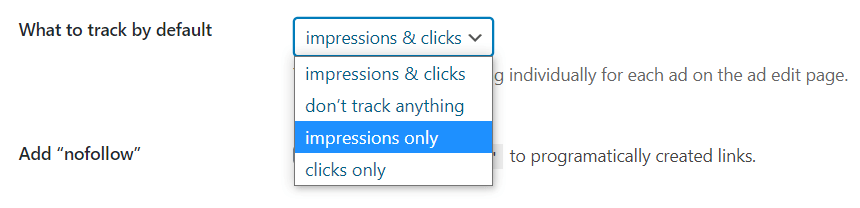 Impression and click tracking options in Advanced Ads