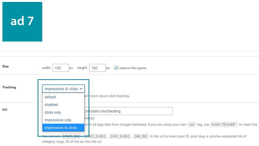 Specific tracking options on ad level