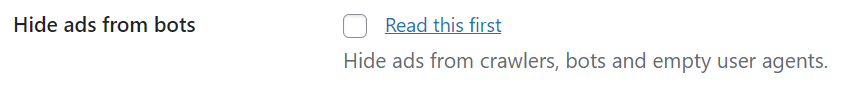 Option in Advanced Ads to hide ads from ad click bots