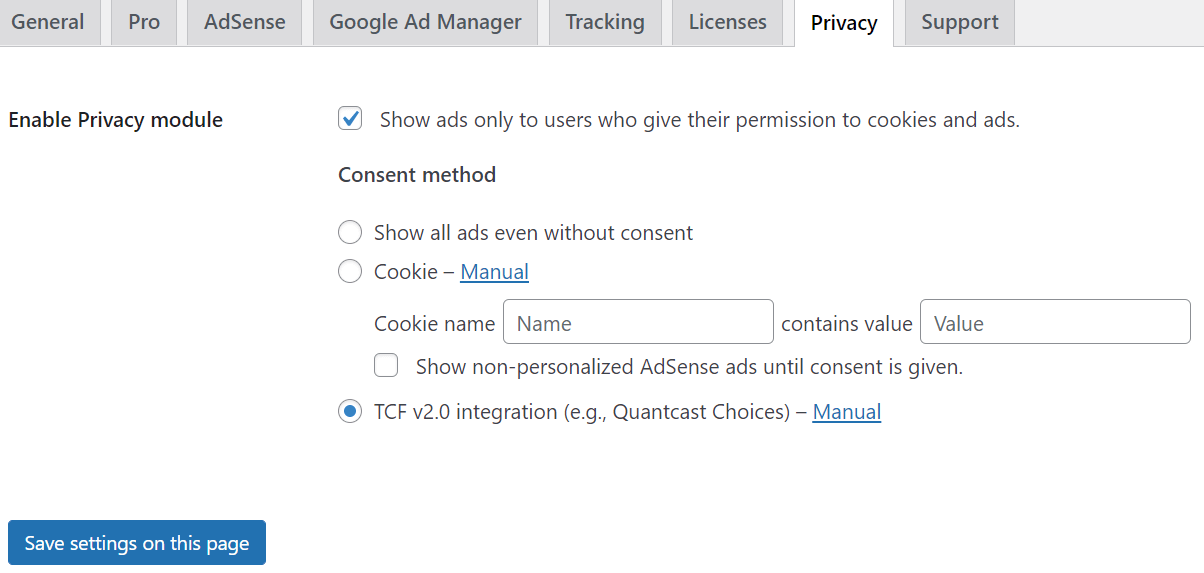 Cookie consent options in Advanced Ads