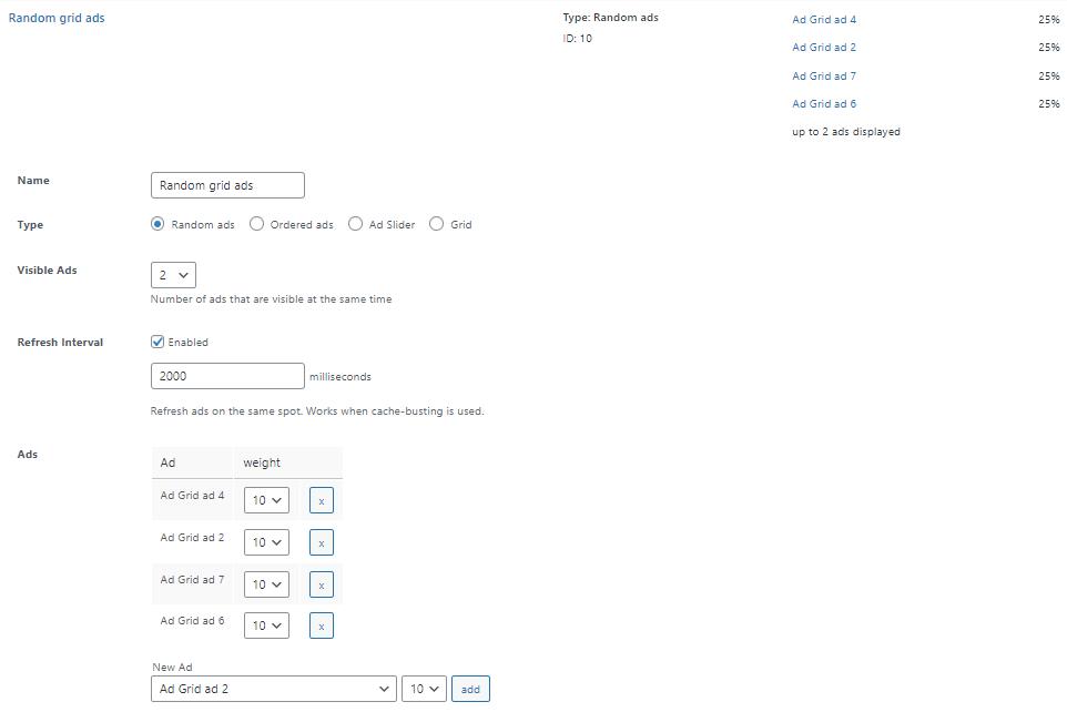 Ad group options Advanced Ads
