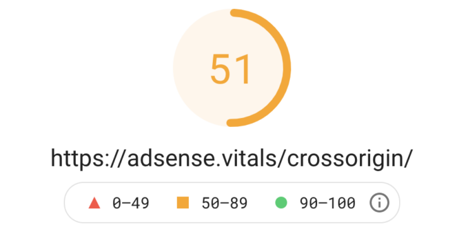 Result of a PageSpeed Insights test with the score 51 out of 100.