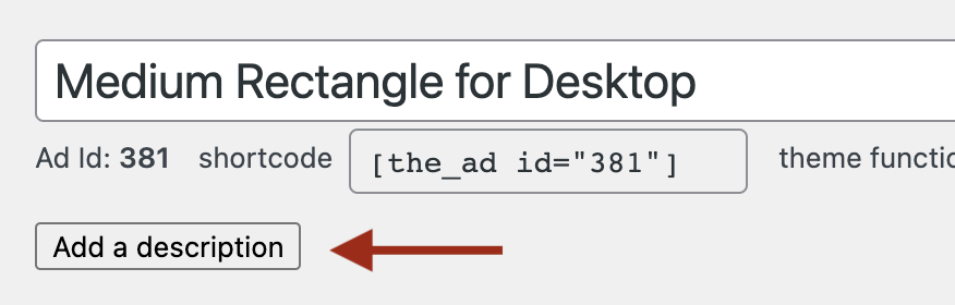 Highlighting the button to leave a description to an ad below the ad title field.