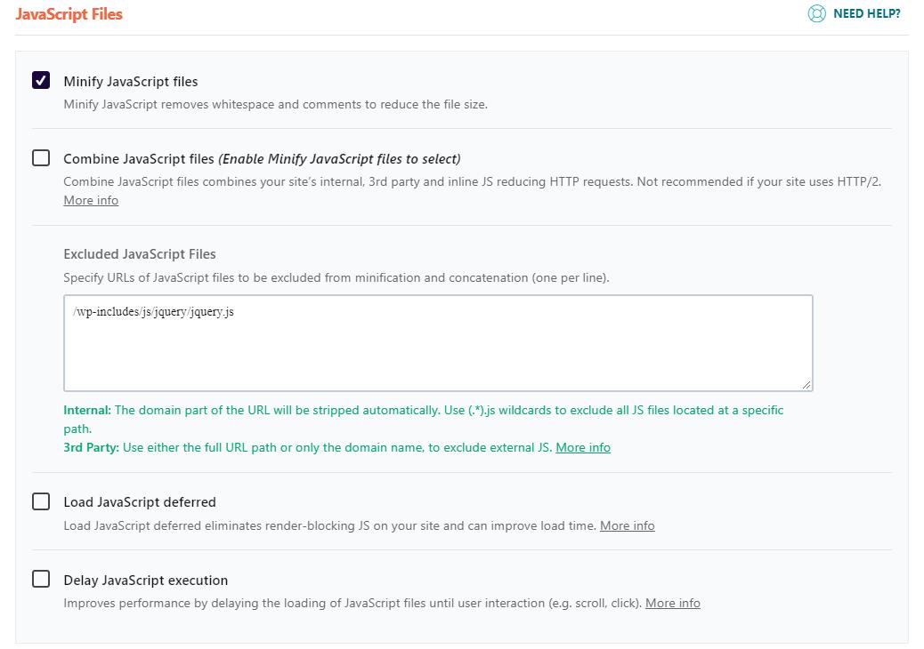 WP Rocket options to optimize JavaScript files.
