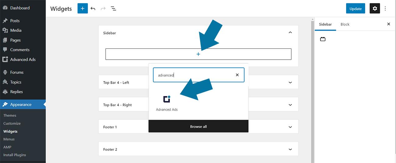 Advanced Ads block in the WordPress widgets settings