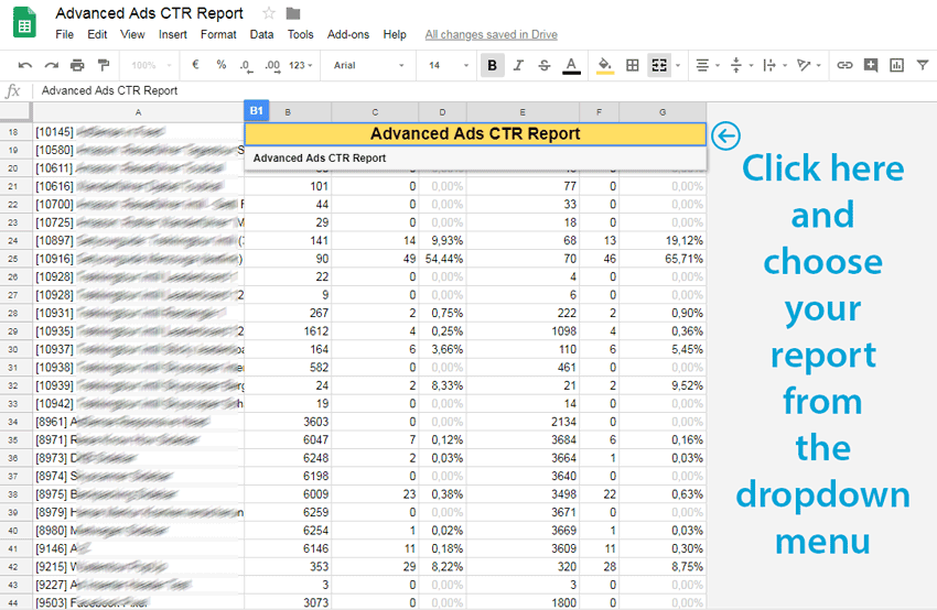 Custom click-through rate report in Google Sheets for Advanced Ads statistics in Google Analytics