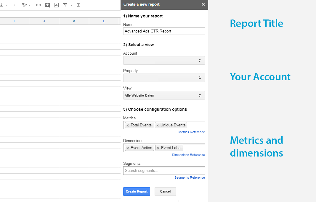 Creating a custom Google Analytics report in Google Sheets